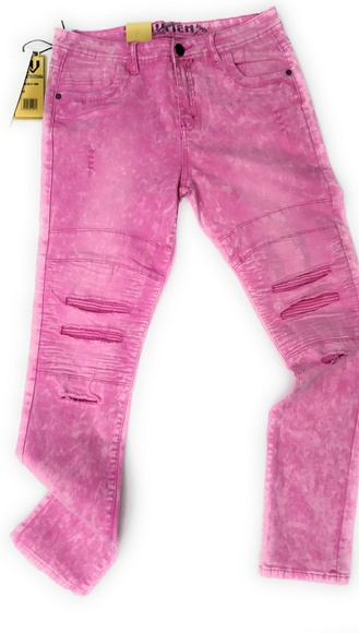 ad442c23608 Mens pink stretchy Ripped Jeans